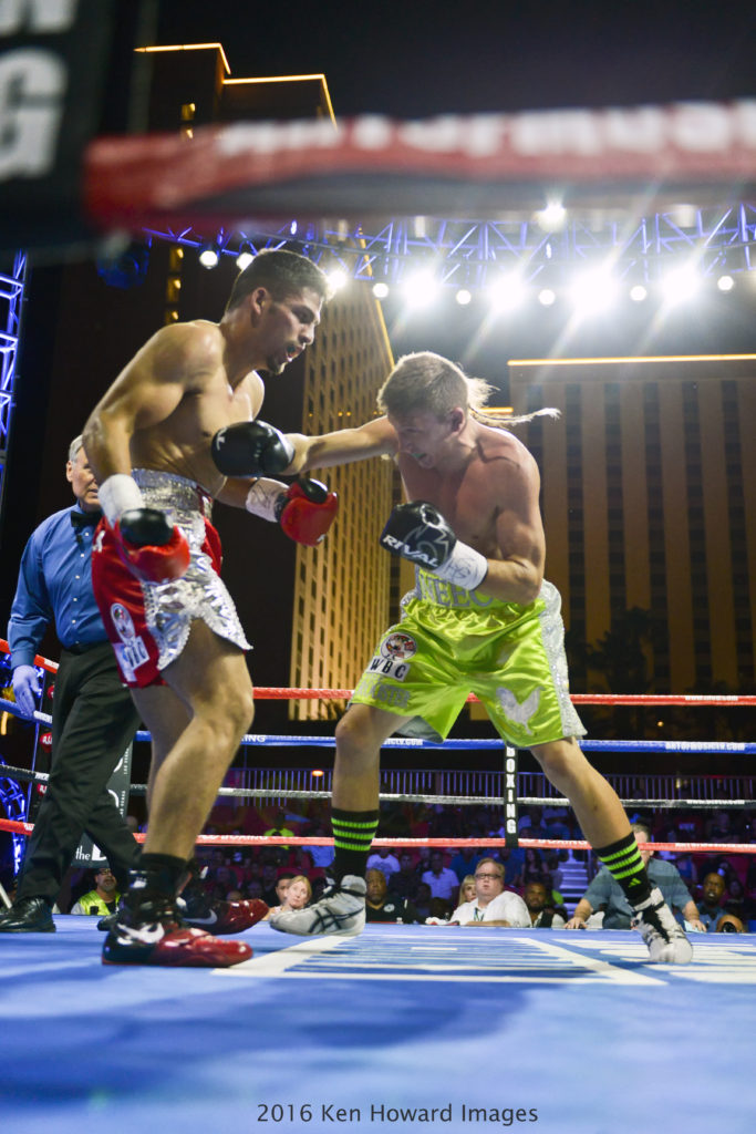 """Las Vegas, Nevada September 9 2016 - The """"Knockout Night at the D"""" series, presented by the D Las Vegas and DLVEC, is promoted by Roy Jones Jr. The co-main event features two unbeaten junior middleweights as Rolando """"Rola"""" Garza battles Neeco """"The Rooster"""" Macias for the title belt. Neeco Marcias wins in the 5th by TKO. © Ken Howard/Alamy Live News"""
